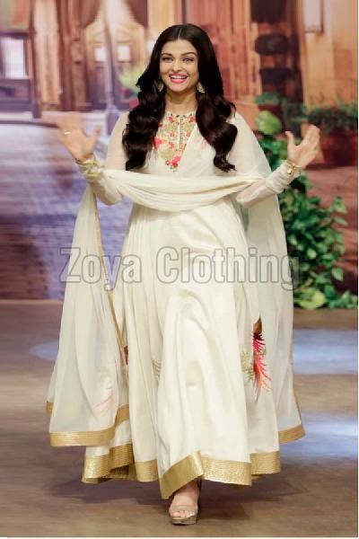 Poly Silk White Bollywood Replica Long Suits
