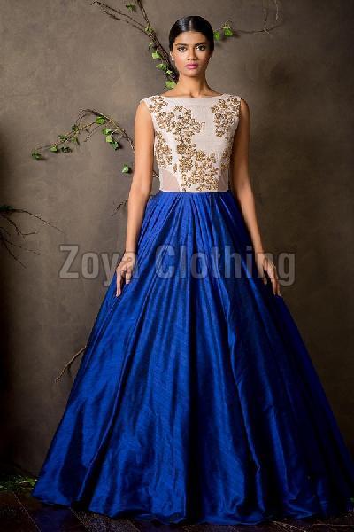 Silk Machine Work Blue Gown
