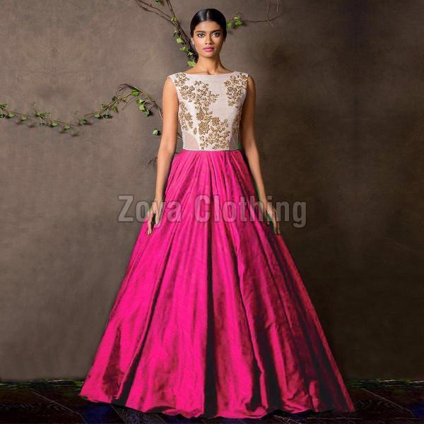 Silk Machine Work Pink Gown