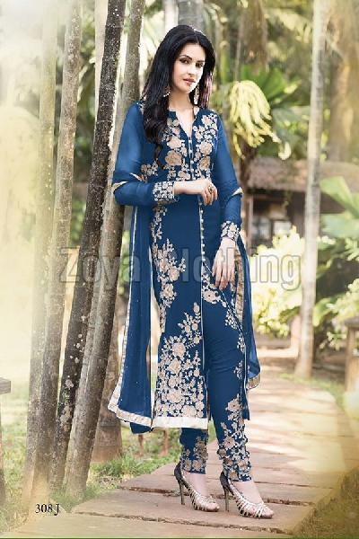 Straight Heavy Embroidered Blue Long Suits