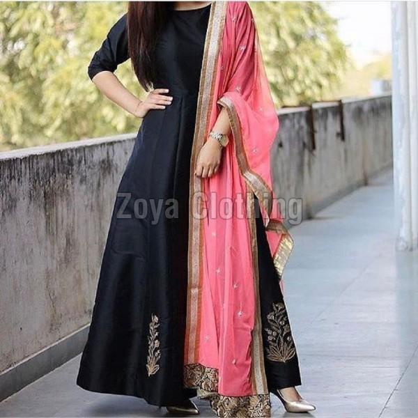 Taffeta Silk Machine Work Black Long Suits