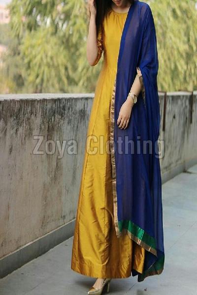 Taffeta Silk Plain Yellow Long Suits