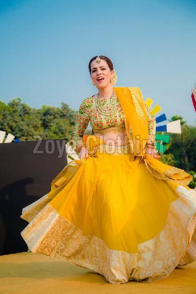 Poly Silk Yellow Lehenga Choli