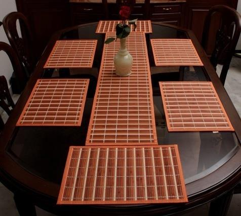 30x135 Cms Multicolor Stripes Bamboo Greens Bamboo Dining Table Mats