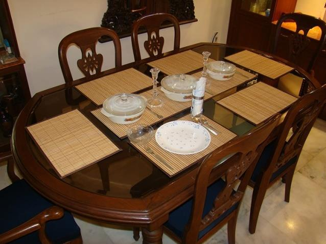 Brown & Cream Stripes Bamboo Greens Bamboo Dining Table Placemats