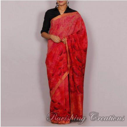 Hand Painted Handloom Cotton Saree 01