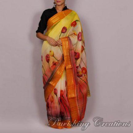 Hand Painted Handloom Cotton Saree 02