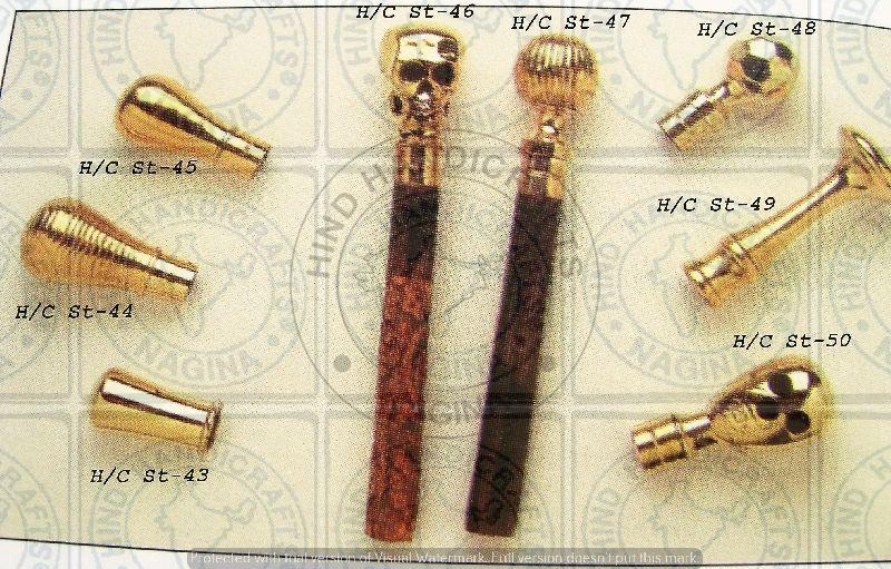 HHC122 Wood Brass Walking Stick