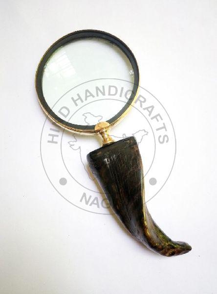 HHC14 Antique Wood Brass Magnifier