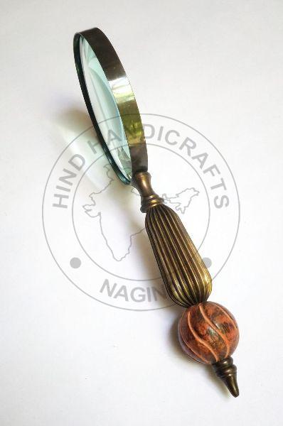 HHC17 Antique Wood Brass Magnifier