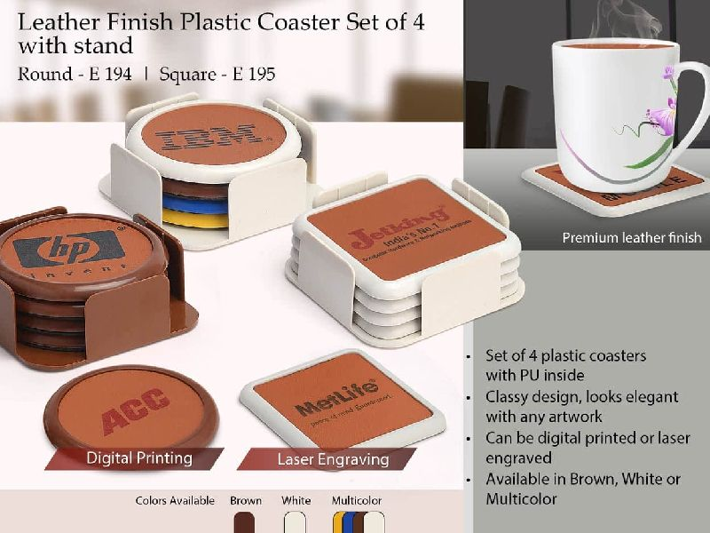 E194 – Leather Finish Plastic Coaster Set Of 4 With Stand (Round)