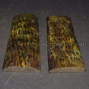 Dyed Stabilized Fossil Green Jigged Bone Scale