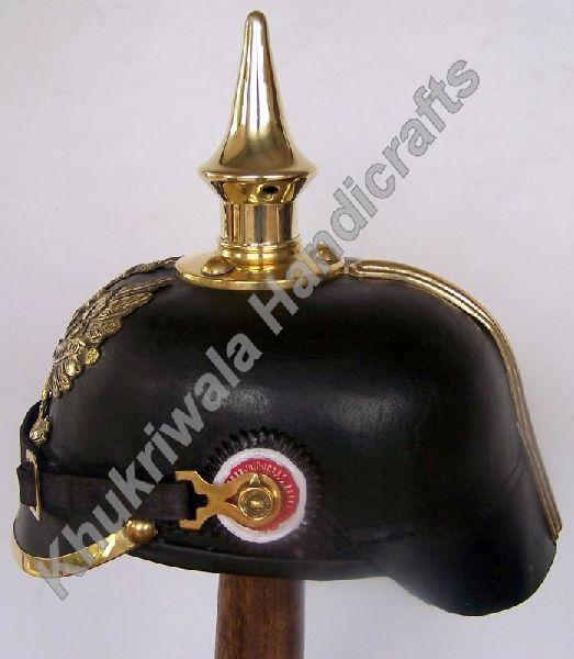 H128 German WW2 Leather Pickelhaube Helmet