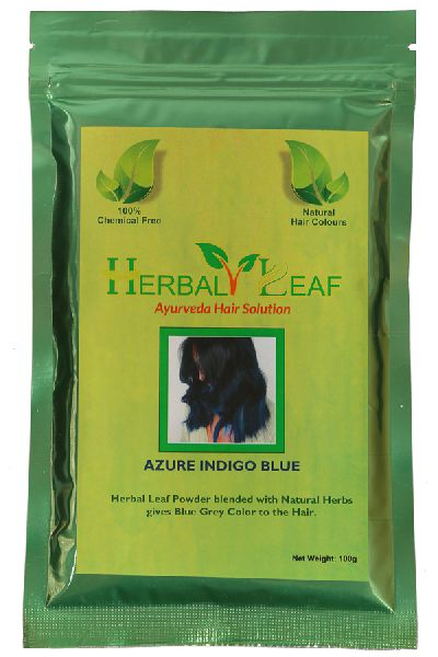 Herbal Leaf Azure Indigo Blue Hair Powder