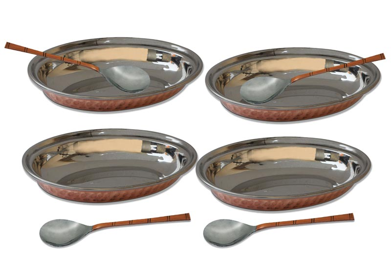 Copper Steel Oval Dish Bowl