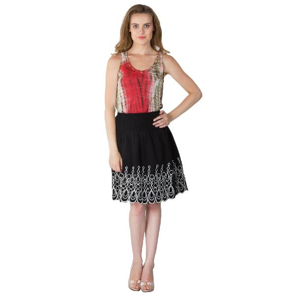 Embroidered Cotton Lycra Short Skirts