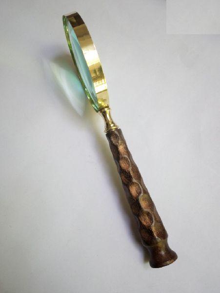HHC10 Antique Wood Brass Magnifier