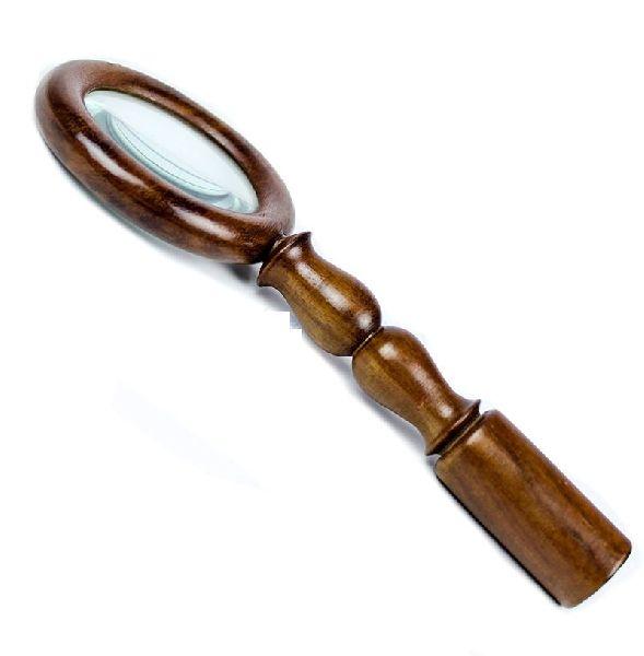 HHC18 Antique Wood Brass Magnifier