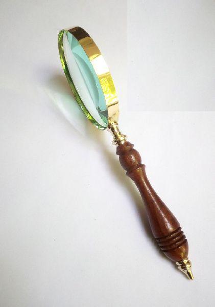 HHC20 Antique Wood Brass Magnifier