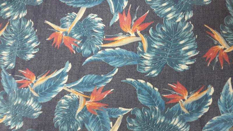 Denim Discharge Printed Fabric