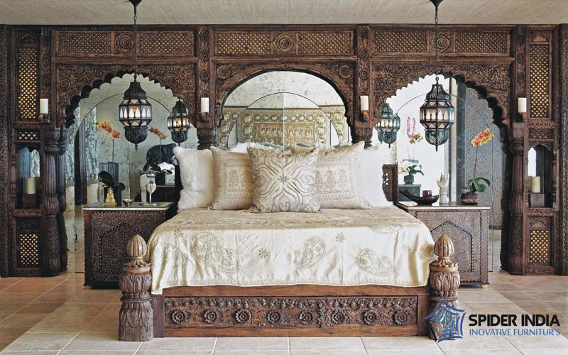 19th Century Indian Antique Bed - Antique & Vintage Beds,Indian Low Pillar Bed Manufacturers