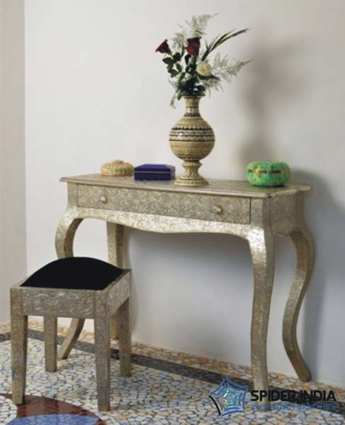 Embossed White Metal Furniture Embossed White Metal Console Table