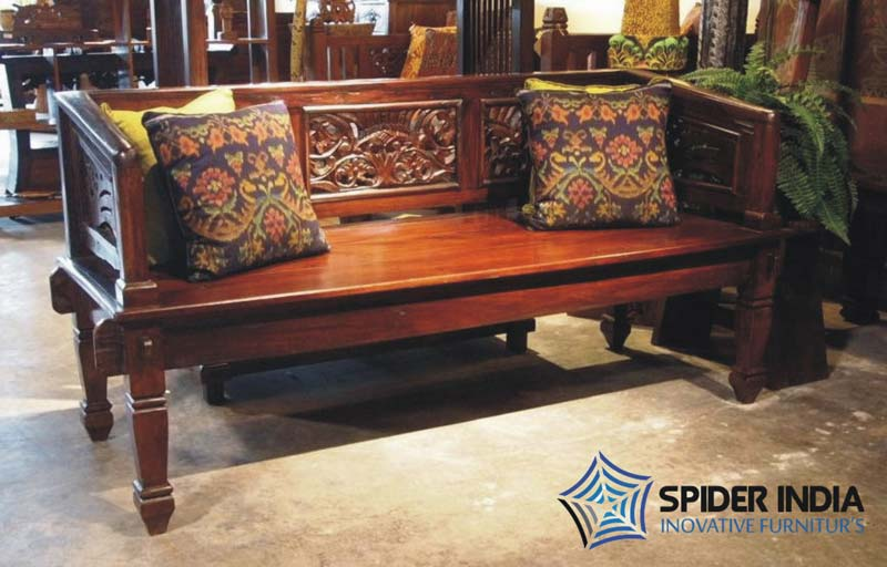 Antique wooden carved sofa carved indian bench manufacturers for Reclaimed wood manufacturers