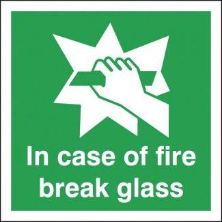 In Case Of Fire Break Glass Signage