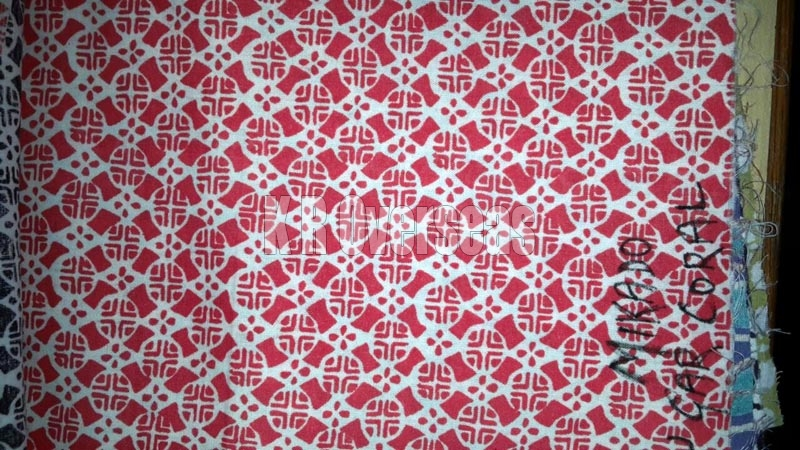 Mikado Coral Red Printed Cotton Fabric
