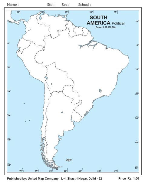 map outline of south america