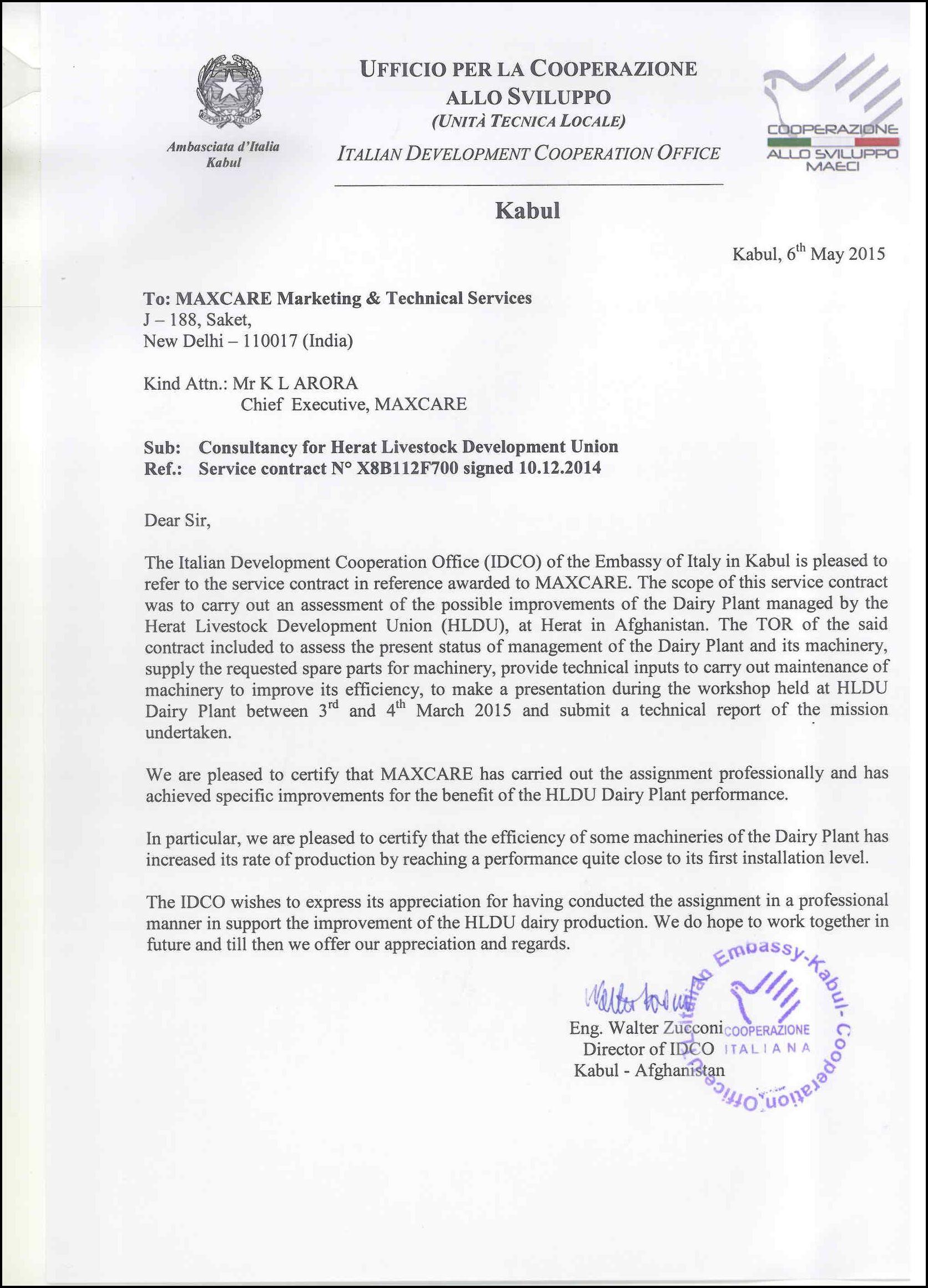 Letter of appreciation HERAT Consultancy