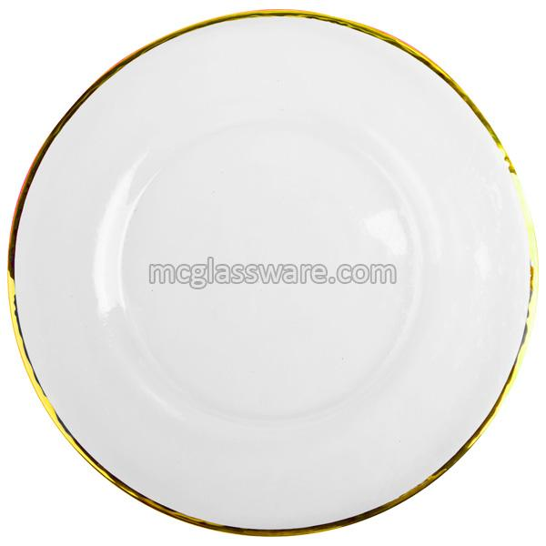 0.5cm Gold Rimmed Glass Charger Plates