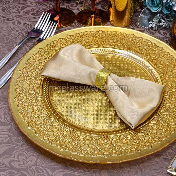 Babylon Gold Glass Charger Plates