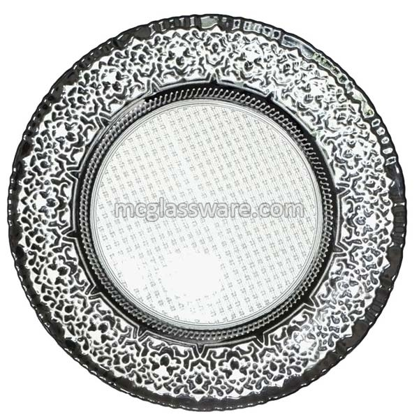Babylon White Black Glass Charger Plates