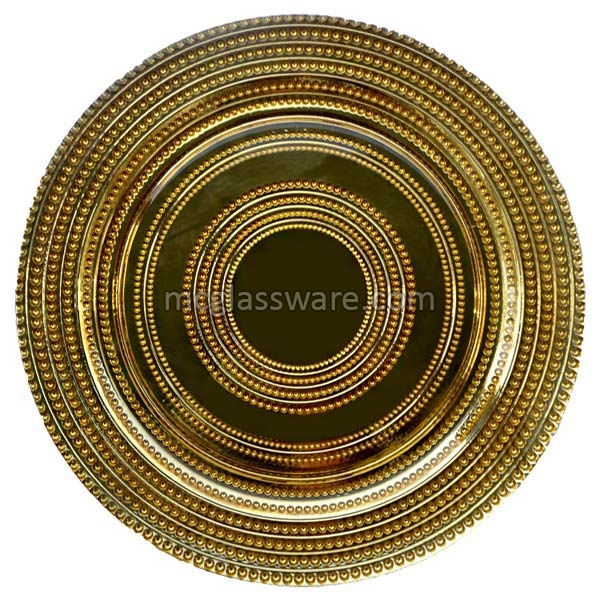 Gold Beaded Glass Charger Plates