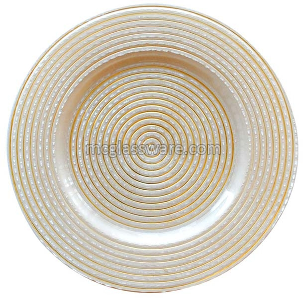 Circus Gold Glass Charger Plates