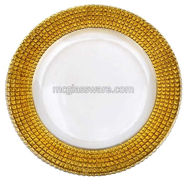 Gold Edge Glass Charger Plates