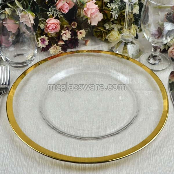 Gold Rimmed Clear Glass Charger Plate