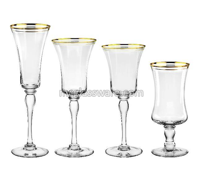 Gold Rimmed Goblet Drinking Glass