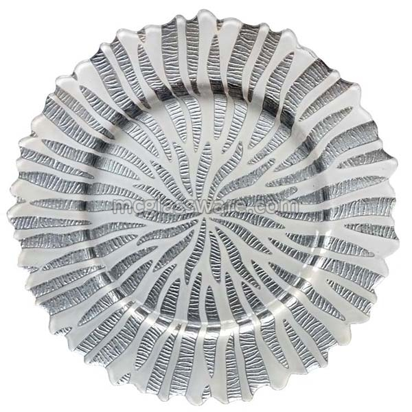 Halley Silver White Glass Charger Plates