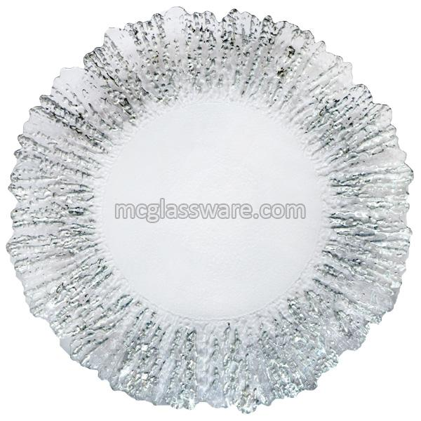 Silver Flower Shaped Glass Charger Plates