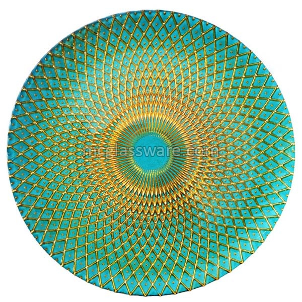 Spiro Gold Teal Glass Charger Plates
