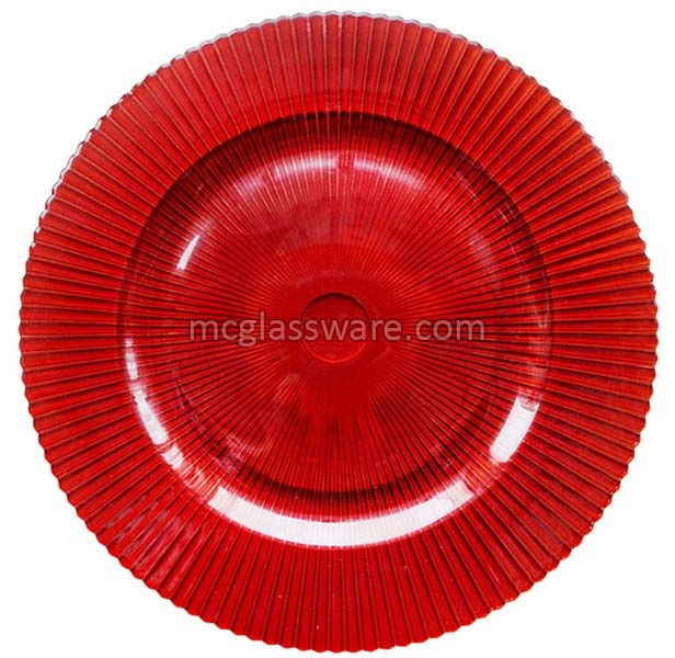 Sunray Red Glass Charger Plates