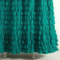 Cotton Voil Frilled Green Curtains