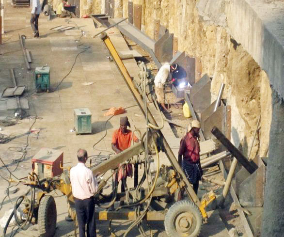 Rock Anchoring Services : Water borewell services drilling rock anchors