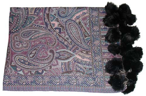 Pashmina shawls with fur balls latest fashion