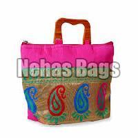 Wooden Handle Silk Bag