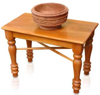 Wooden Oil Vessel On Bench
