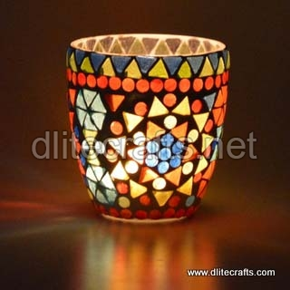 Glass Candle Mosaic Votive