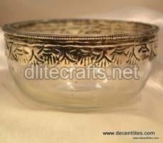 Metal Fitting Glass Bowl